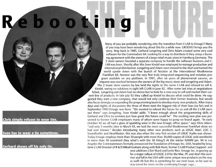 Chris Adam, Gerhard Lengeling & Sven Kindel (Junge) in an article about the future of music software, lots of good emagic blah blah ;)
