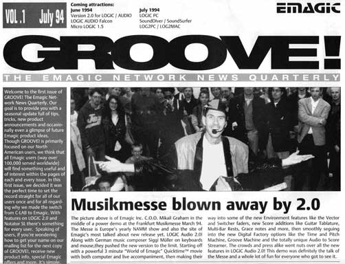 the cover of emagic's first user newsletter Groove! 1992